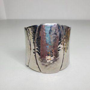 Chicos Bracelet Stretch Silver Tone Textured Big S